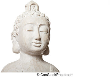 white budha - budha sculpture isolated on white. picture ...