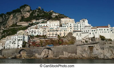White buildings in small village on the Amalfi coast