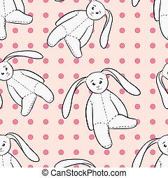 White bunnies toys childish seamless pattern