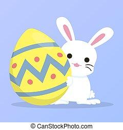 white bunny holding easter egg