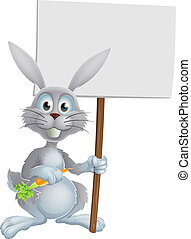 White bunny rabbit with carrot sign - White bunny rabbit...