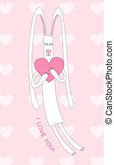 White bunny with a pink heart