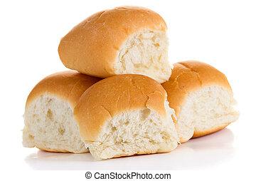 White buns - Four buns isolated on white background