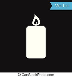 White Burning candle icon isolated on black background. Old fashioned lit candle. Cylindrical aromatic candle stick with burning flame. Vector Illustration