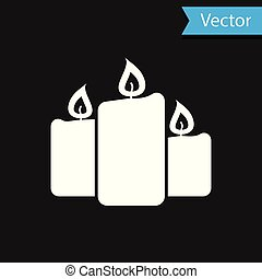 White Burning candles icon isolated on black background. Old fashioned lit candles. Cylindrical aromatic candle sticks with burning flames. Vector Illustration