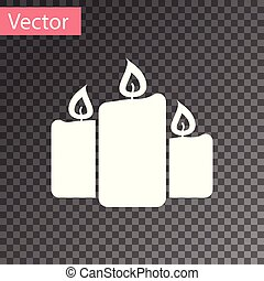 White Burning candles icon isolated on transparent background. Old fashioned lit candles. Cylindrical aromatic candle sticks with burning flames. Vector Illustration