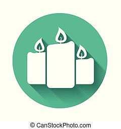 White Burning candles icon isolated with long shadow. Old fashioned lit candles. Cylindrical aromatic candle sticks with burning flames. Green circle button. Vector Illustration