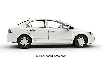 White Business Car Side View