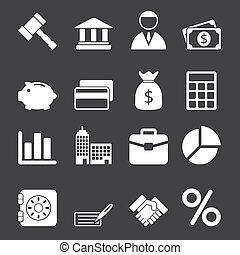 White Business Icons Set