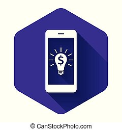 White Business light bulb with dollar on smartphone screen icon isolated with long shadow. User touch screen. Purple hexagon button. Vector Illustration