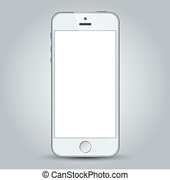 White business mobile phone isolated on gray background