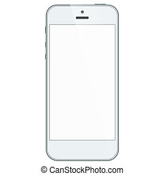 White business mobile phone isolated on white background