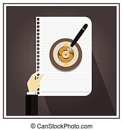 white business paper line write  vector symbol target