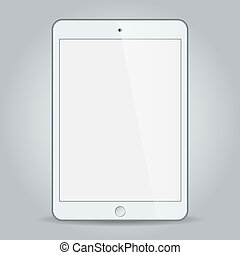 White business tablet vector in iPad style isolated on white...