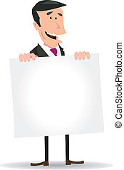 White Businessman Holding A Blank Sign - Illustration of A...