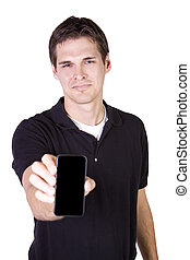 White Businessman Holding a Cell Phone - Isolated White...