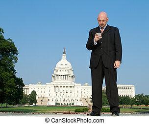 White Businessman Smart Phone Capitol Wash DC US