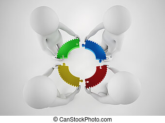 White businesspeople build a company. Concept of parthership and teamwork. 3D rendering.