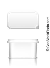 White butter, cheese or margarine container with lid mockup - front and top view. Blank plastic food package: cream, yogurt, dessert, spread. Product template. Isolated 3d vector illustration