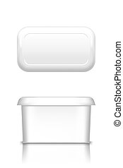 White butter, soft cheese or margarine container with lid mockup - front and top view. Blank plastic food package: cream, yogurt, dessert, spread. Product template. Isolated 3d vector illustration