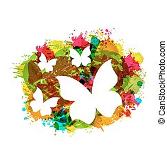 White Butterflies on Colorful Grunge Texture