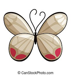 White butterfly icon, cartoon style