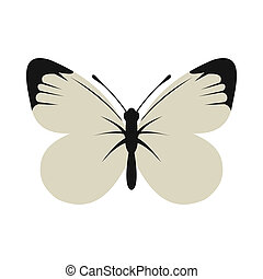 White butterfly icon, flat style