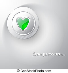 White button green heart