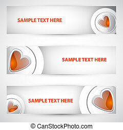 White button red heart banner