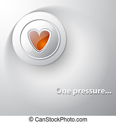 White button red heart