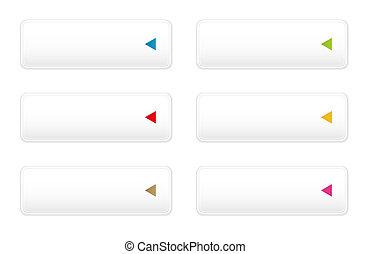 white button with arrow icon set