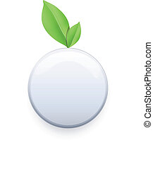 White button with leaf.