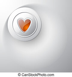 White button with red heart