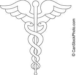 White caduceus symbol isolated on white background.