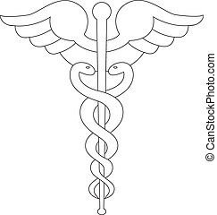White caduceus symbol isolated on white background.