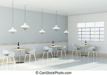 White cafe interior side
