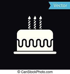 White Cake with burning candles icon isolated on black background. Happy Birthday. Vector Illustration