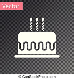 White Cake with burning candles icon isolated on transparent background. Happy Birthday. Vector Illustration