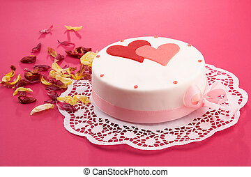 cake - white cake with hearts on it