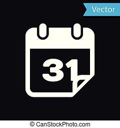 White Calendar icon isolated on black background. Vector Illustration