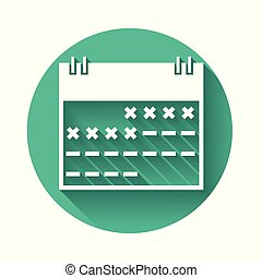 White Calendar icon isolated with long shadow. Green circle button. Vector Illustration