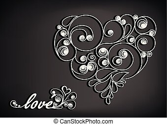 white calligraphic heart with shadow and love word on the black background horizontal