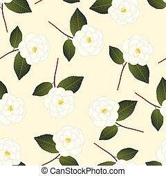 White Camellia Flower on Beige Ivory Background.
