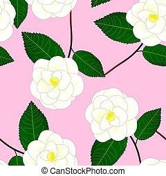 White Camellia Flower on Pink Background. Vector Illustration