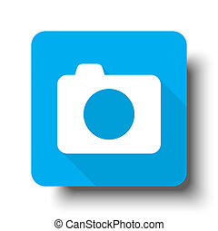 White Camera icon on blue web button