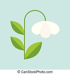 white campanula flower icon isolated on sky blue background,...