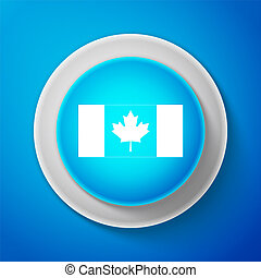 White Canada flag icon isolated on blue background. Circle blue button with white line. Vector Illustration