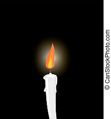 White candle on black background. Grief, mourning. Illustration in memory of dead.