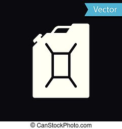 White Canister for gasoline icon isolated on black background. Diesel gas icon. Vector Illustration