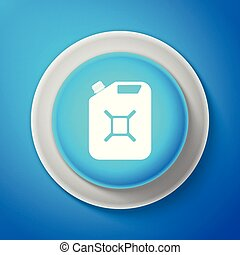 White Canister for gasoline icon isolated on blue background. Diesel gas icon. Circle blue button with white line. Vector Illustration